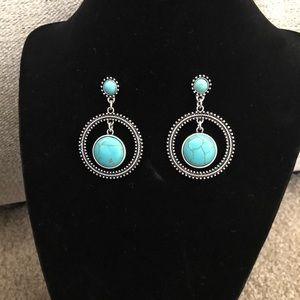 Boho Pierced Turquoise Earrings